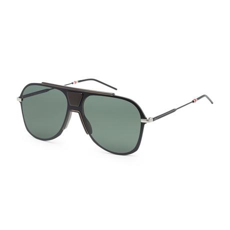 Men's 0224S-0TCG-99IR Sunglasses // Black Khaki + Green