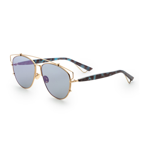 Unisex Technologic Sunglasses // Rose Gold + Violet Mirror