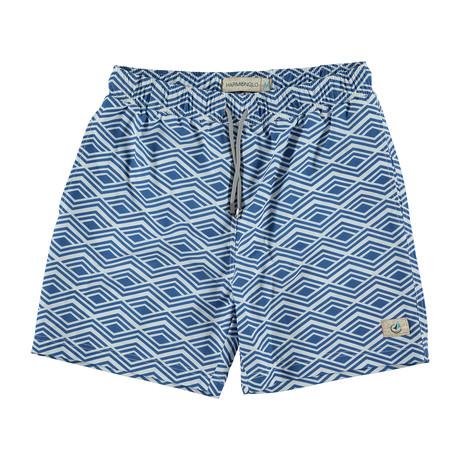 Bermuda Swim Trunk // Blue + White (S)