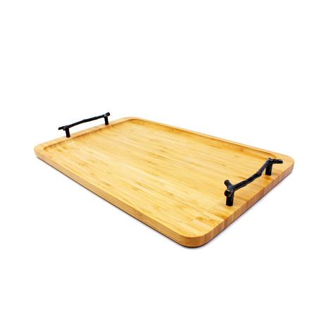 Bamboo Tray + Wrought Iron Handles