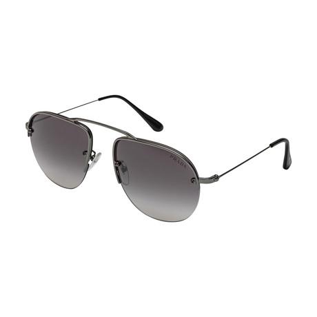Prada // Men's 58OS 5AV6T2 Sunglasses // Gray Gradient + Silver Mirror