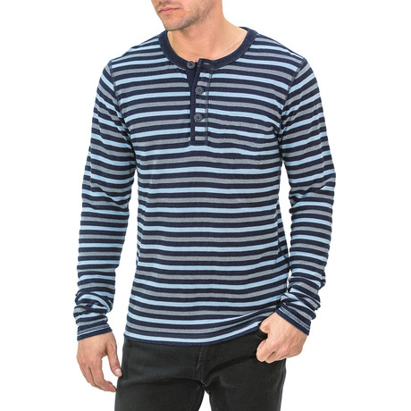 Striped Long Sleeve Henley // Blue (S)
