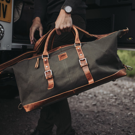 50L Augustine Duffel // Green Canvas + Leather
