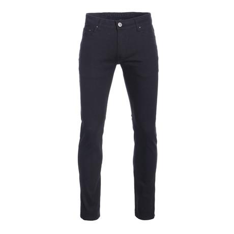 Striated Skinny-Stretch Cotton Pants // Black (28WX30L)