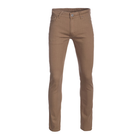 Striated Skinny-Stretch Cotton Pants // Taupe (28WX30L)