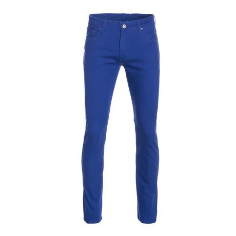 Striated Skinny-Stretch Cotton Pants // Royal (28WX30L)