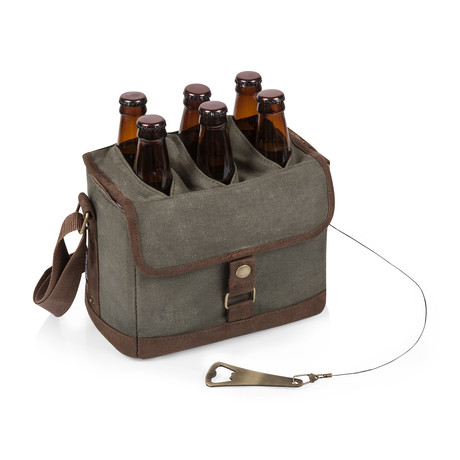Beer Caddy Cooler Tote with Opener (Khaki Green)