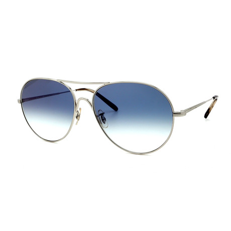 Oliver Peoples // Men's Rockmore OV1218S50363F Sunglasses // Silver + Blue Gradient