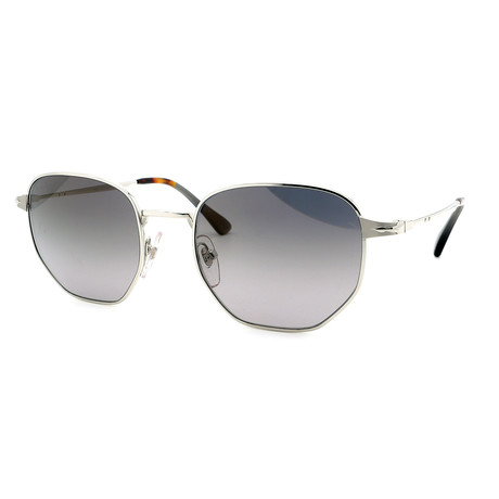 Persol // Men's PO02446S-518-M3 Sunglasses // Silver + Gray Gradient