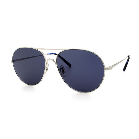Oliver Peoples // Men's OV1218S-5063R5 Sunglasses // Brushed Silver + Blue