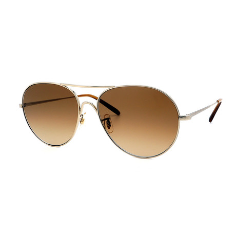 Oliver Peoples // Men's Rockmore OV1218S-5035Q4 Sunglasses // Gold + Brown Gradient