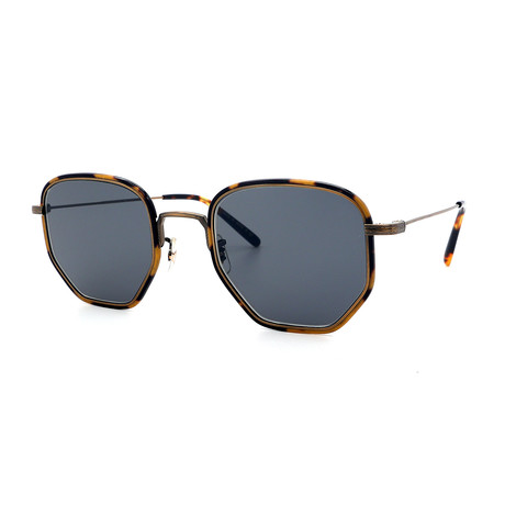 Oliver Peoples // Men's Alland OV1233ST-5284R5 Sunglasses // Antique Gold + Tortoise + Gray