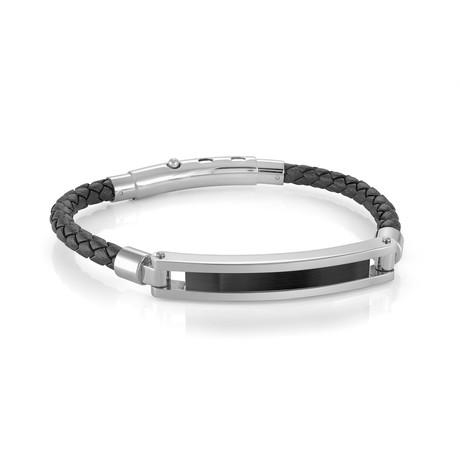 Adjustable Stainless Steel + Leather Bracelet V2 // Black