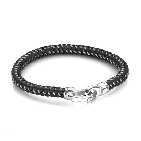 "Designer Clasp Stainless Steel + Leather Bracelet // Black (7.7""L)"