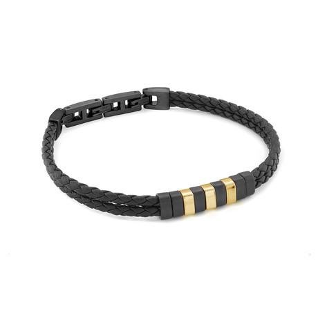 Double Strand Bracelet // Gold + Black