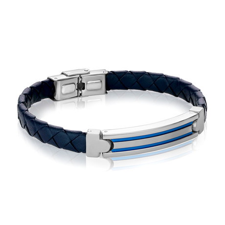 ID Plate Stainless Steel + Leather Bracelet // Blue