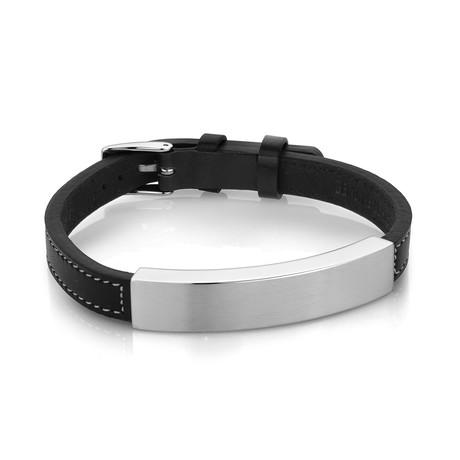 ID Plate Stainless Steel + Leather Bracelet // 8mm // Black