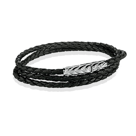Stainless Steel + Leather Wrap Bracelet // Black