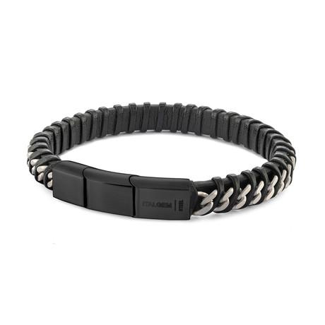 """Curb Link Twisted Bracelet V2 // Black (7.7""""L)"""