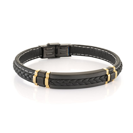 Stainless Steel + Leather Bracelet // Black + Gold Plating