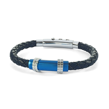 Stainless Steel + Leather Brush Clasp Bracelet // Blue