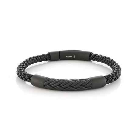 "Chevron Design Bracelet // Black (7.7""L)"