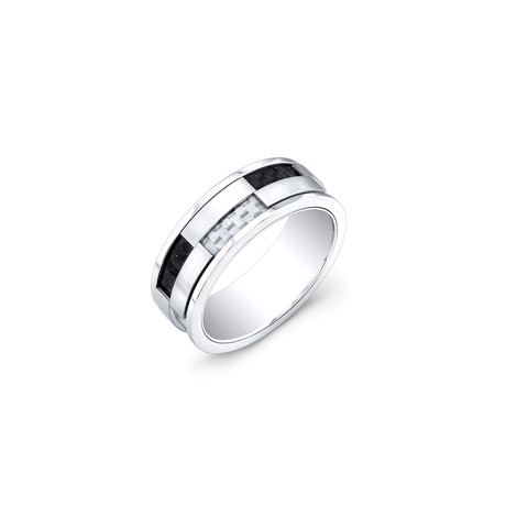 Stainless Steel Ring // Black + White // 8mm (5)