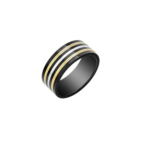 Stainless Steel Ring // Black + Yellow + White // 9mm (5)