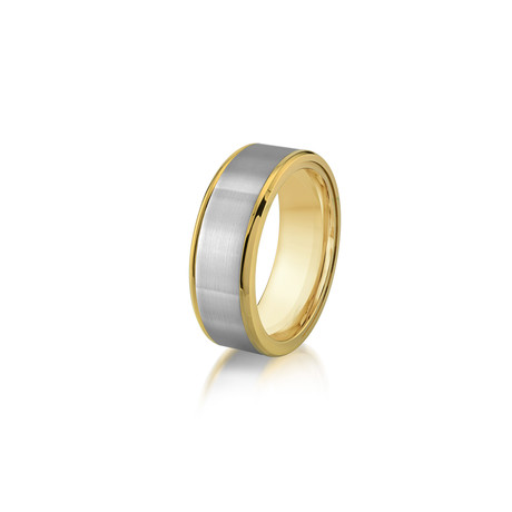 Yellow Plated Brushed Center + Polished Edge Ring // 8mm (7)