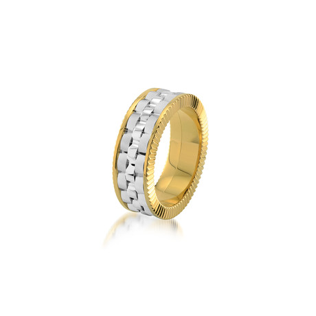 Yellow Plated Brushed + Polished Ring // 8mm (7)