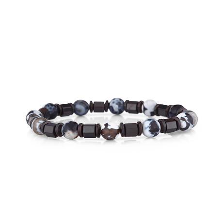 Bead Bracelet // Brown + White