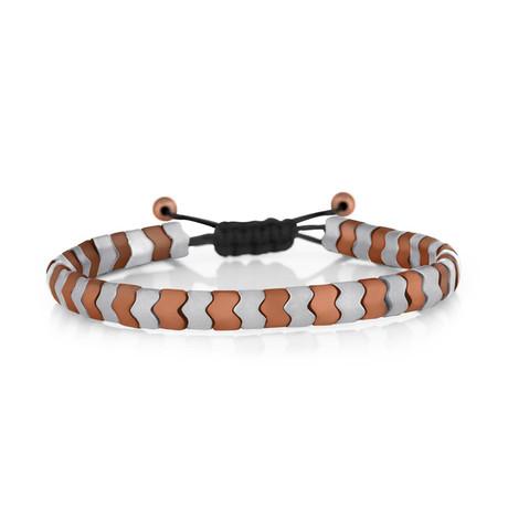 Geometric Bracelet // Silver + Orange
