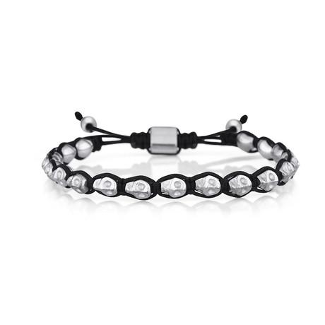 Skull Bracelet // Black + Silver