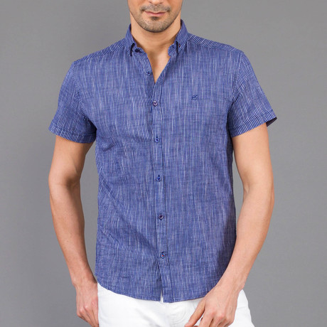 Fenway Short Sleeve Button Up Shirt // Dark Blue (S)