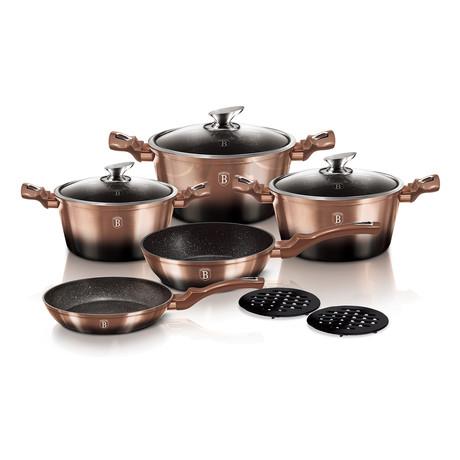 10 piece Cookware Set // Metallic Line Rose Gold Noir Edition
