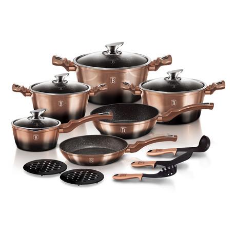 15 piece Cookware Set, Metallic Line Rose Gold Noir Edition