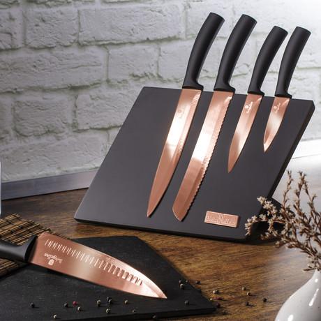 5 piece Knife Set + Stand // Rose Gold