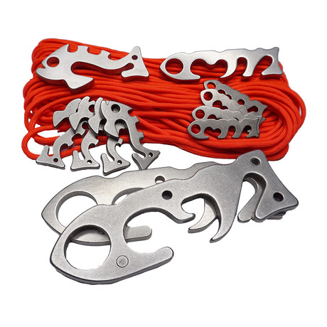 "Happy Camper Pack // Stainless Steel & Aluminum + 50' Orange ""Fish & Fire"" Paracord // 12 Multi Pack"
