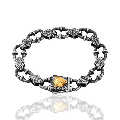 """Inlaid Link Bracelet // Oxide + Gold (7"""")"""