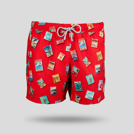 Travel Posters Swim Short // Red (S)