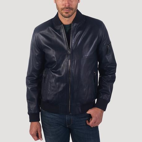 Drake Leather Jacket // Navy Blue (S)