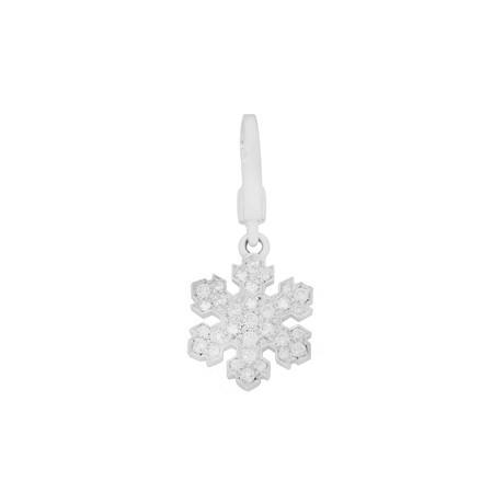 Bulgari 18k White Gold Diamond Snowflake Charm