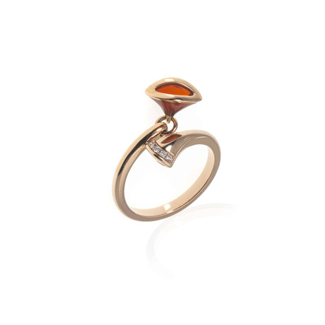 Bulgari Diva's Dream 18k Rose Gold Diamond + Carnelian Ring // Ring Size: 7