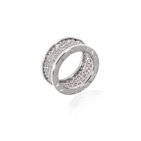 Bulgari Bulgari 18k White Gold Diamond Ring // Ring Size: 6