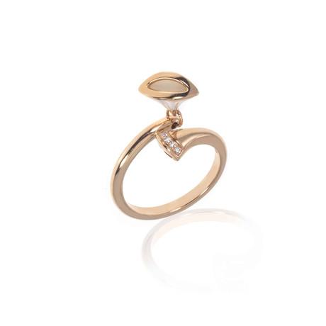 Bulgari Diva's Dream 18k Rose Gold Diamond + Mother of Pearl Ring (Ring Size: 6.25)