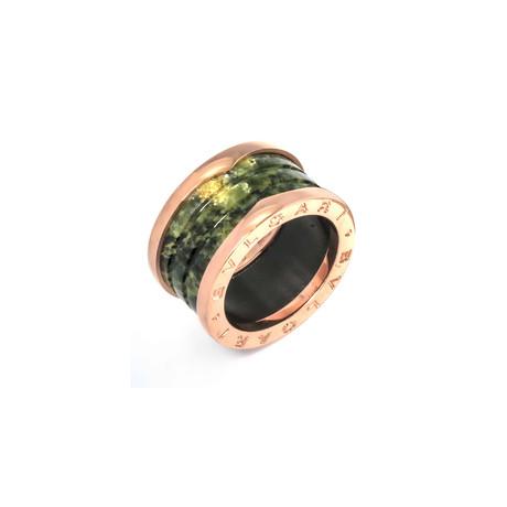 Bulgari 18k Rose Gold + Green Marble B.Zero 1 Ring // Ring Size: 5.25