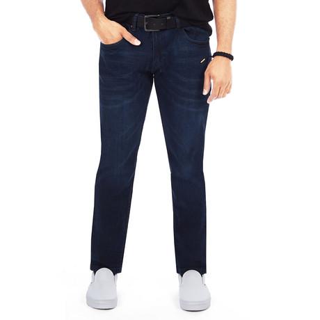 Men's Belted Dark Wash Jeans // Dark Blue (28WX30L)