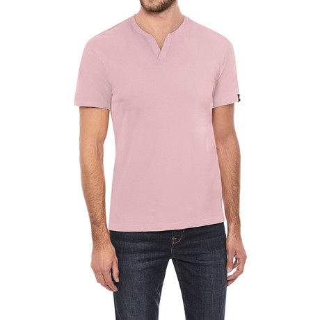 Super Soft Stretch V-Notch Neck Tee // Baby Pink (S)