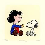 Lucy van Pelt + Snoopy Hand Painted Sowa & Reiser Etching (Unframed)