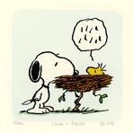 Woodstock + Snoopy Hand Painted Sowa & Reiser Etching (Unframed)
